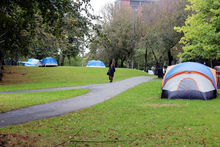 Some tents in Victoria Park in Halifax.