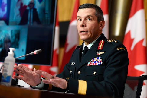 Maj.-Gen. Dany Fortin speaks at a news conference on the COVID-19 pandemic on January 15, 2021, a time when he was vice-president of logistics and operations at the Public Health Agency of Canada.