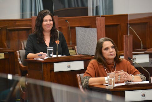 Jenene Wooldridge, left, executive director of L'nuey, and Lennox Island Chief Darlene Bernard speak before a meeting of the standing committee on health and education on Sept. 29. The two emphasized reconciliation in P.E.I. must be preceded by Prince Edward Islanders learning the truth about the Peace and Friendship Treaties.
