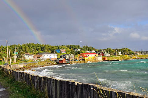 A sign of hope!  I'm not sure which is more captivating, the colours of the homes in Dildo, N.L., or those of the rainbow that appeared during Dorian. Marilyn Crotty's timing and framing were perfect.