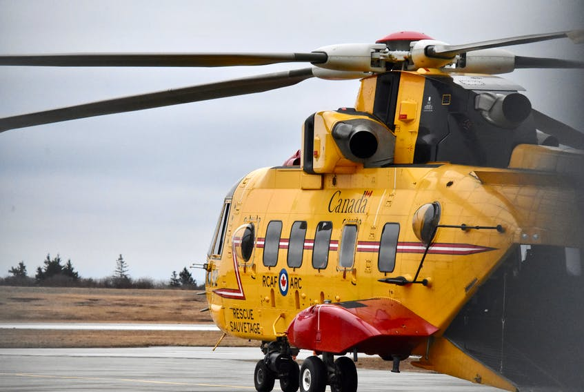 A CH-149 Cormorant helicopter at the Yarmouth airport during a previous incident. A CH-149 Cormorant helicopter was tasked to the area on Sept. 3 to help in the search for a missing man on a remote island. TINA COMEAU/FILE PHOTO