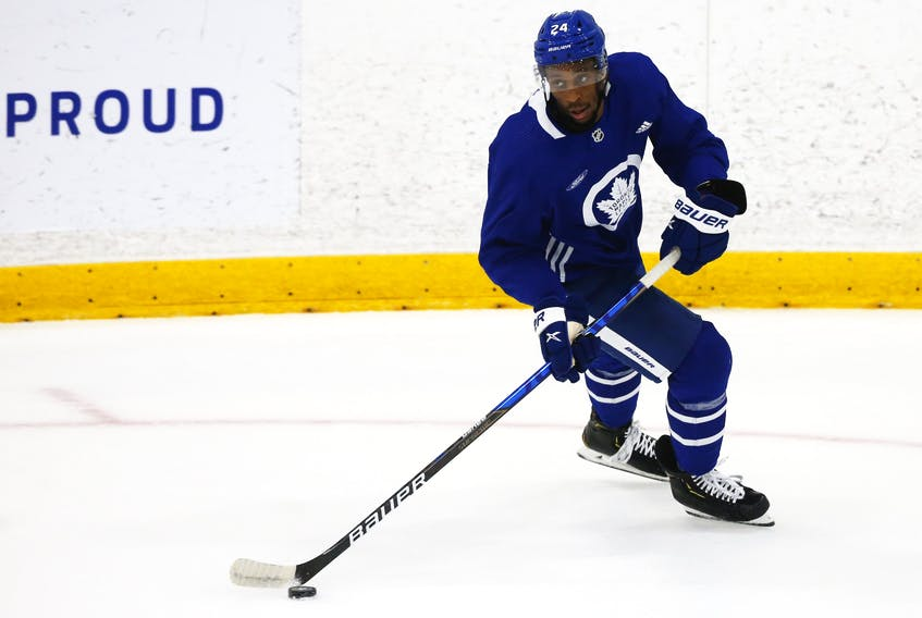 Toronto Maple Leafs forward Wayne Simmonds  wheels around  on the ice at their practice facility.