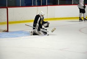 Kensington Monaghan Farms Wild rookie goaltender George Gallant makes a save during a drill at a recent practice at the Cody Banks Arena in Charlottetown.