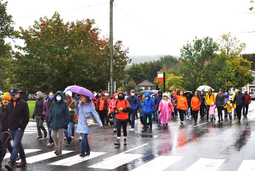 Some 300 people took part in the National Day for Truth and Reconciliation (Orange Shirt Day) vigil and walk in Corner Brook on Thursday, Sept. 30.