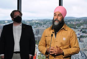 Federal New Democratic Party (NDP) Leader Jagmeet Singh is shown inside Memorial University Emera Innovation Centre on Signal Hill Road on Saturday morning where he spoke on various federal health care related issues. At left is St. John's South/Mount Pearl NDP candidate Ray Critch.  -Photo by Joe Gibbons/The Telegram.