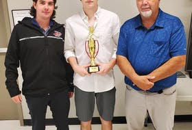 Goaltender Lucas Fraser, middle, was named the Cape Breton Jets regular season and playoff most valuable player for the 2020-21 Nova Scotia Under-16 'AAA' Hockey League season. The team recently announced its awards. Fraser is pictured with Matt MacLeod left, and head coach Jim (Fred) Head. PHOTO CONTRIBUTED/CAPE BRETON JETS.