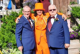 David Fletcher, left, of Dominion, during his wedding in the community July 31, with his nephew Jackson Fortin, 14, centre, of Quebec City, and his father Jim Fletcher of Dominion. David said his family is suffering incredible grief after his father, sister, nephew and niece were all killed in a motor vehicle accident involving an alleged impaired driver in Quebec City on Sept. 2. Quebec police confirm the driver of the other vehicle was travelling at a high rate of speed and was arrested for impaired driving. He now faces multiple dangerous driving-related offences. CONTRIBUTED