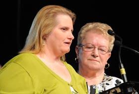 Monica Burke (left) is one of several people Gander's Beulah Cooper (right) helped in the aftermath of the 9-11 attacks. One of the thousands of people stranded in the province, Burke stayed with Cooper and remains in touch with her today. The pair are pictured during the 10th anniversary of the tragedy, in 2011.