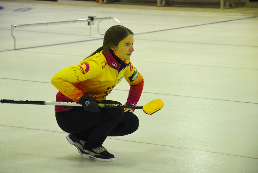 Suzanne Birt watches her rock during last year's provincial women's curling championship in O'Leary. Birt skipped her P.E.I. rink to a second-place finish in the Oakville Labour Day Classic in Ontario on Sept. 5. The Birt rink completed play with a record of 6-1 (won-lost).