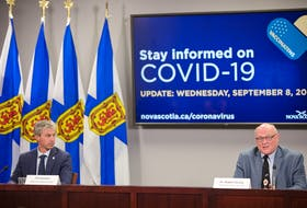 Nova Scotia Premier Tim Houston and Dr. Robert Strang, chief medical officer of health, hold a COVID-19 news briefing Wednesday, Sept. 8, 2021, in Halifax.