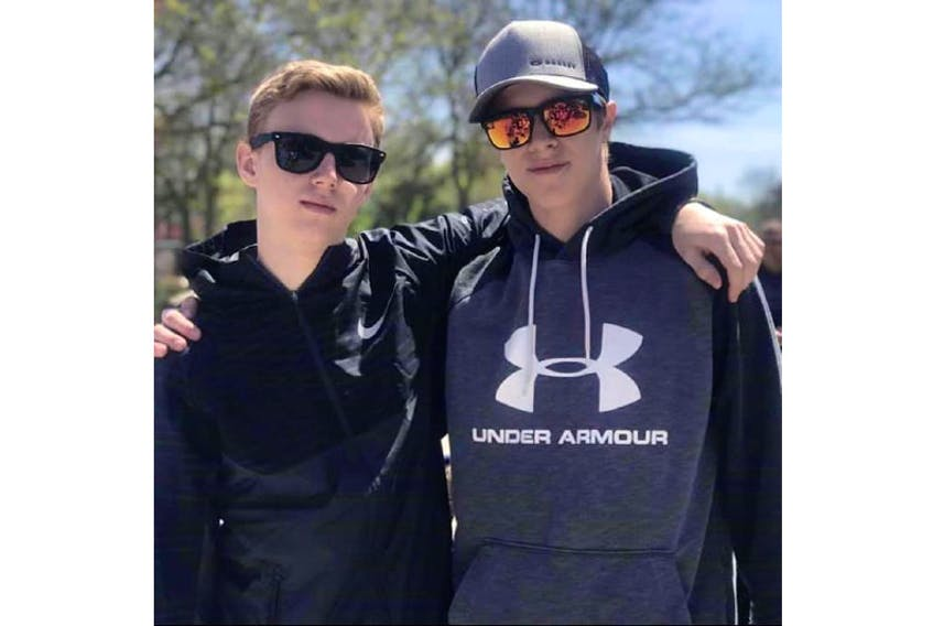 Alex Hutchinson and Ethan Reilly went into the water when the boat they were in capsized in western P.E.I. on Sept. 16, 2020. As a way to honour the boys' memory, the A&E Legacy Foundation was created. Along with sponsoring events, the foundation sponsors athletes without the funds or means of getting equipment to play hockey or other sports. - Contributed Taylor Powers/Facebook Photo