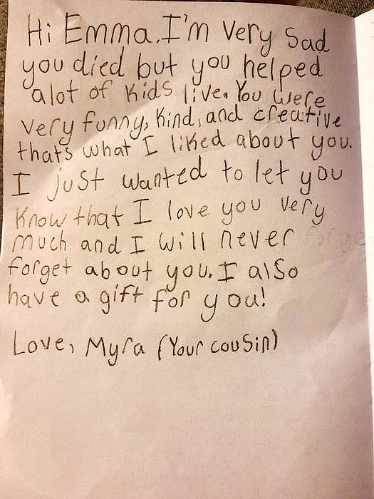 Part of the emotional letter Myrajane Pickup, 9, of Dominion, wrote for Emma Lemieux, 10, of Quebec City,  which was placed in Emma's hospital room after she was critically injured and later died as a result of a motor vehicle accident on Sept. 2, in Quebec City. The little girls bonded and became best friends after meeting through the connection of relatives who married on July 31. Contributed. - Contributed