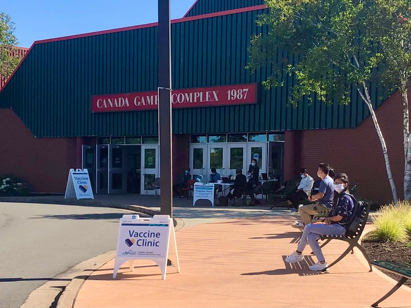 The lineup at the COVID-19 vaccine clinic at Cape Breton University appeared full on Tuesday, with a steady flow of people going in for vaccinations. NICOLE SULLIVAN/CAPE BRETON POST