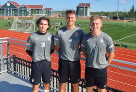The 2021 edition of the Cape Breton Capers men's soccer team is heading into the new season with high expectations. After the cancellation of last year's entire Atlantic University Sport schedule and the addition of many new players, the four-time defending AUS champions will look to veteran leadership that head coach Deano Morley expects to come from his captains. Above from left, assistant captain and midfielder Raine Lyn, captain and defender Euan Bauld and assistant captain and forward Charlie Waters. DAVID JALA/CAPE BRETON POST