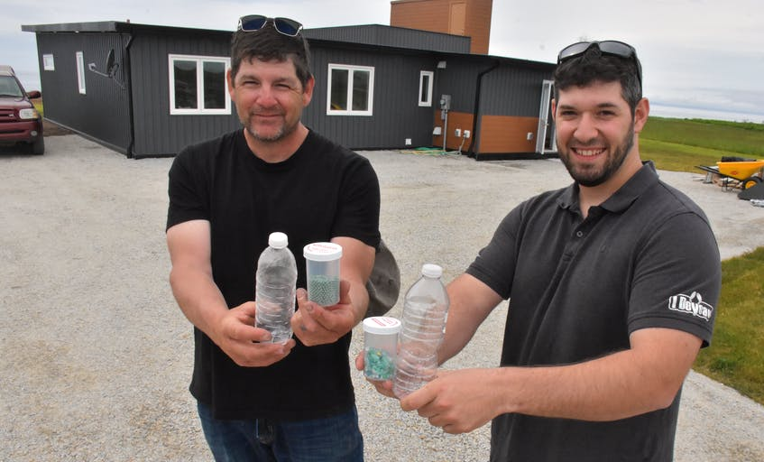 David Saulnier and Joel German of JD Composites Inc. stand outside the home they built in 2019 in Meteghan River, Digby County, which was made out of recycled plastic bottles. The construction of that 2,000-square-foot home used around 610,000 plastic bottles. TINA COMEAU/FILE PHOTO - Tina Comeau