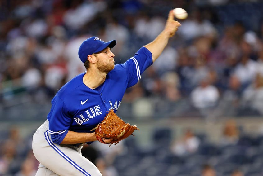 Blue Jays pitcher Steven Matz delivers against the New York Yankees during the first inning at Yankee Stadium on Wednesday, Sept. 7, 2021. RICH SCHULTZ/GETTY IMAGES