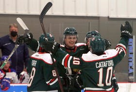 The Halifax Mooseheads celebrate after scoring in the first period of a QMJHL pre-season game against the visiting Moncton Wildcats at the RBC Centre on Aug. 27.