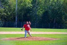 Shaun O'Toole of the Saint John Alpines delivers a pitch against the Charlottetown Gaudet's Auto Body Islanders in Game 2 of the best-of-seven semifinal series at Memorial Field in Charlottetown on Aug. 29. With the Alpines facing elimination in Charlottetown on Sept. 7, O'Toole tossed a complete game in a 1-0 eight-inning win. That victory tied the series 3-3 and forces a Game 7 in Saint John, N.B., on Sept. 9 at 8 p.m.