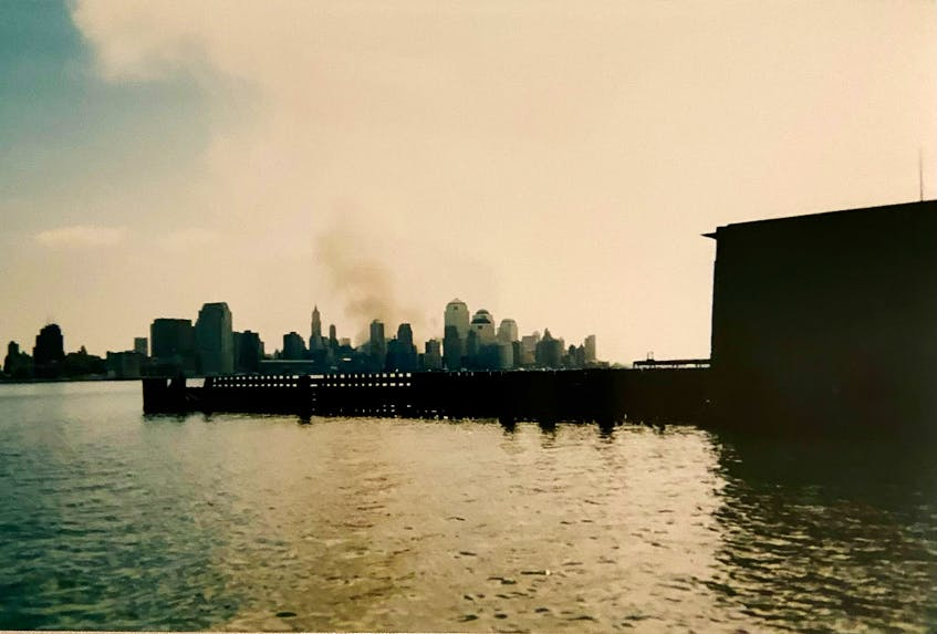 The view from Hoboken, N.J., on Sept. 12, 2001. At the time, Chris and Jennifer Etheridge lived there.  - Contributed