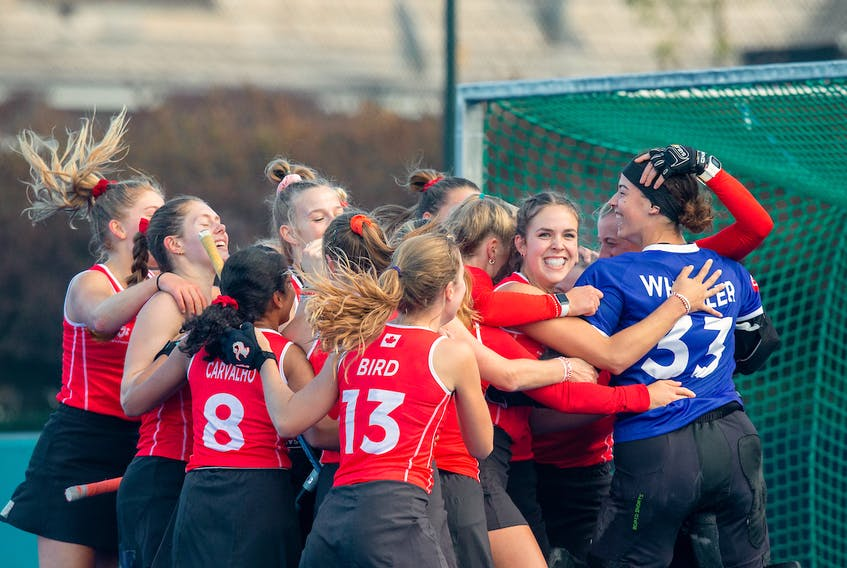 Sara Goodman, third from left, is all smiles as she celebrates with her Team Canada teammates following a win against Argentina at the recent Junior Pan American Games in Santiago, Chile. Rodrigo Jaramillo – WorldSportpics • Special to the SaltWire Network