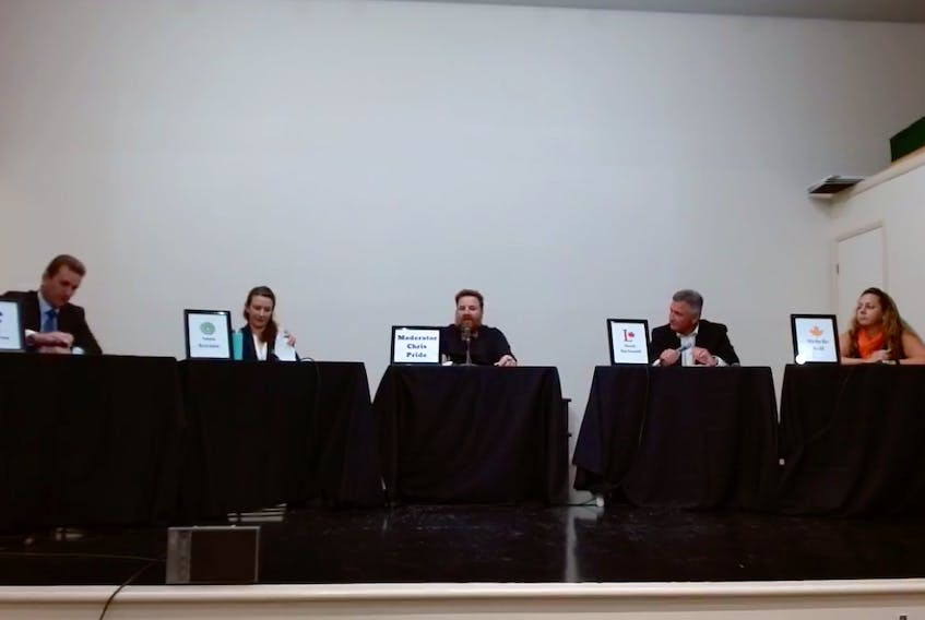 Conservative Party candidate Jody Sanderson, left, Green Party candidate Anna Keenan, Liberal Party candidate Heath MacDonald and NDP candidate Michelle Neill had a lively discussion on how to solve the health care crisis at the Malpeque riding's debate on Wednesday, Sept. 8. - Kristin Gardiner