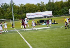 The UPEI Panthers' Patrick Muise, 30, and Josh Nilon, 3, of the Holland Hurricanes jump in the air in an attempt to head the ball during a pre-season soccer game at UPEI on Sept. 5. The Panthers open the Atlantic University Sport regular season at home against the St. Francis Xavier X-Men on Sept. 10 at 7:15 p.m.