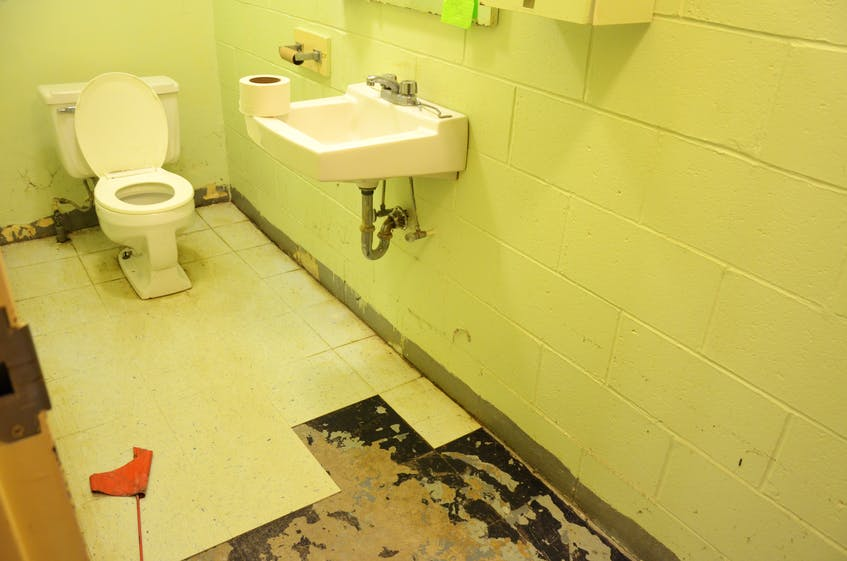 One of the bathrooms in the basement of St. Joseph's Catholic Church in Kentville that is used by the Inn From The Cold shelter, as well as the rest of the space the shelter uses, is currently being restored following a recent sewage flood. KIRK STARRATT