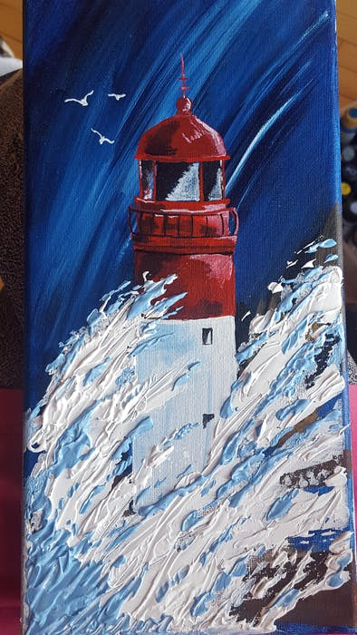 There isn't necessarily a primary subject for her art, Belinda Conrad says, but her paintings do tend to focus on lighthouses, dogs and Native spirits.  - Contributed