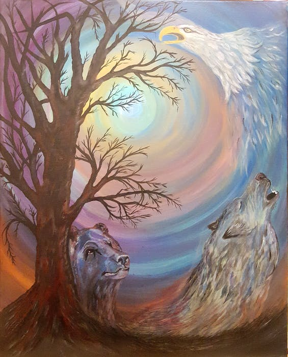 For an Aboriginal art piece for the Yarmouth NSCC campus, Belinda Conrad Conrad painted the cycle of creation. It features a bear spirit born from the earth, an eagle spirit and a wolf spirit returning to Mother Earth. This piece is displayed at NSCC in Yarmouth. - Contributed