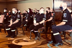 About 40 off-duty paramedics gathered at the Sheraton Hotel in St. John's Thursday, Sept. 9, as their union stepped up demands for more staffing and resources.