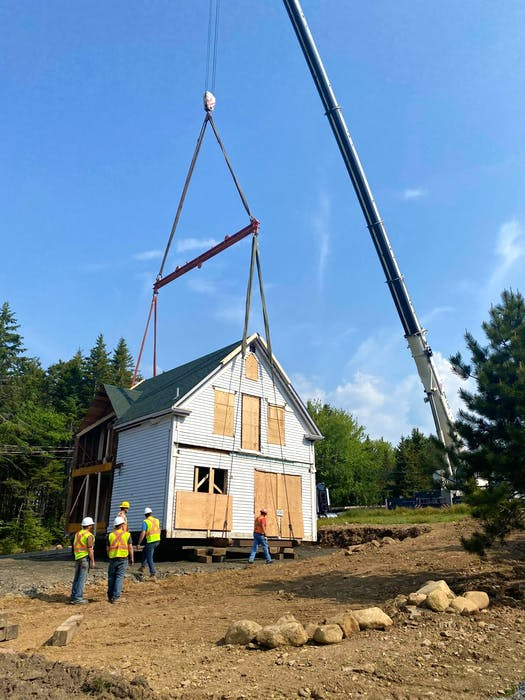 This house in East LaHave was cut in two and moved by a crane three times. - Submitted.