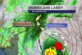 Cindy Day, chief meteorologist for the SaltWire Network, assembled this graph, showing the rain and thunderstorm impact hurricane Larry will have on Prince Edward Island as it interacts with a low pressure trough moving across New Brunswick.