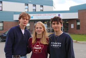 Max Collins, Alexa Cipaianu and Gavin Burry are Grade 11 students at Gander Collegiate. Though they were born five years after the events of 9-11, growing up, there were often reminders of, and ceremonies for, what happened in Gander on Sept. 11, 2001, when thousands of airline passengers and crew became stranded in the town after terrorist attacks in the United States grounded dozens of planes for several days. Even living around the place and people where it happened, it still feels unreal or like something out of a movie, they said.