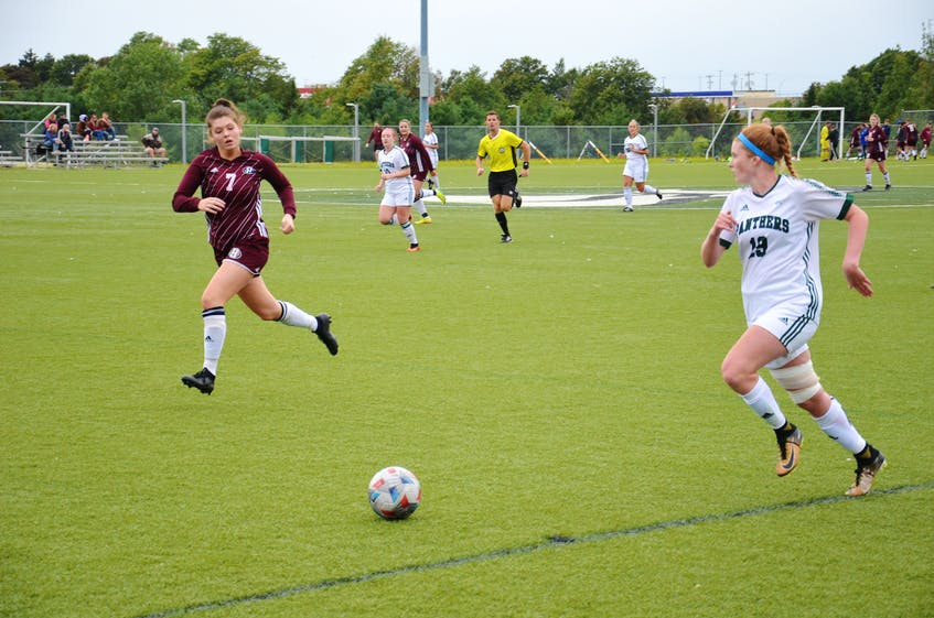 The UPEI Panthers' Braylan MacEachern, right, controls the ball while Abby Cox of Holland Hurricanes hustles back on defence. The two teams met in a pre-season game at UPEI on Sept. 5. The Panthers open the 2021 Atlantic University Sport regular season against the St. Francis Xavier X-Women at UPEI on Sept. 10 at 5 p.m. - Jason Simmonds