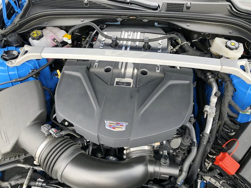 Under the hood of the 2022 Cadillac CT5-V Blackwing there's a 6.2L LT4 supercharged V8, hand-built at the Corvette facility in Bowling Green, Ky. Peter Bleakney/Postmedia News - POSTMEDIA