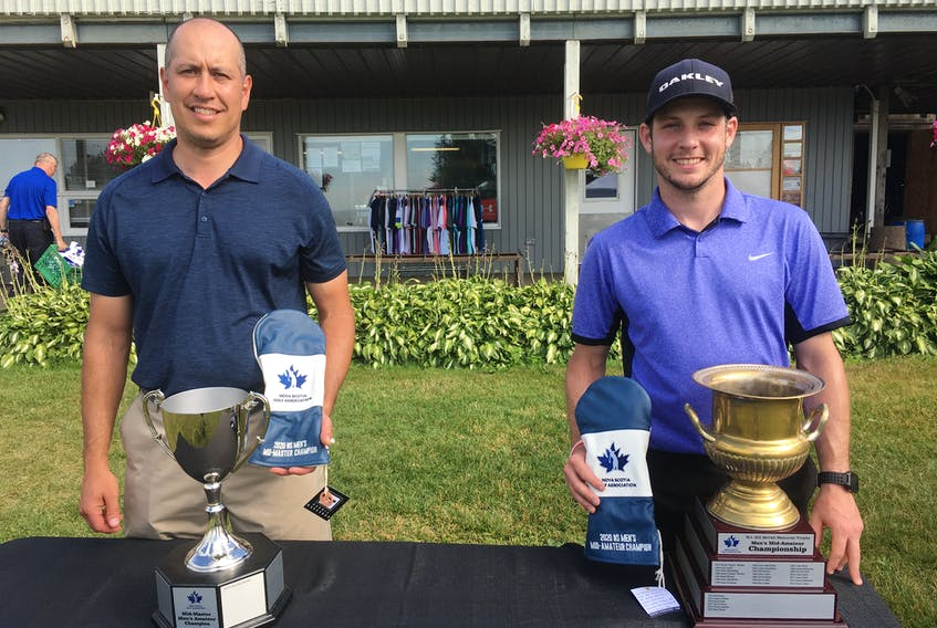 Trevor Chow (left) was the winner of the NSGA Mid-Amateur Master Men's golf championship and Stuart Lenihan the winner of the Mid-Amateur championship at the Amherst Golf Club on Sunday.