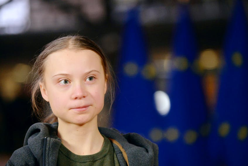 Swedish climate activist Greta Thunberg talks to the media before meeting with EU environment ministers in Brussels, Belgium, March 5, 2020.— REUTERS/Johanna Geron