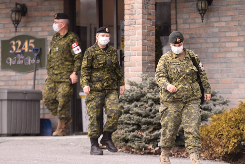 Members of the Canadian Armed Forces are shown at Residence Villa Val des Arbres a long-term care home in Laval, Que., Sunday, April 19, 2020.