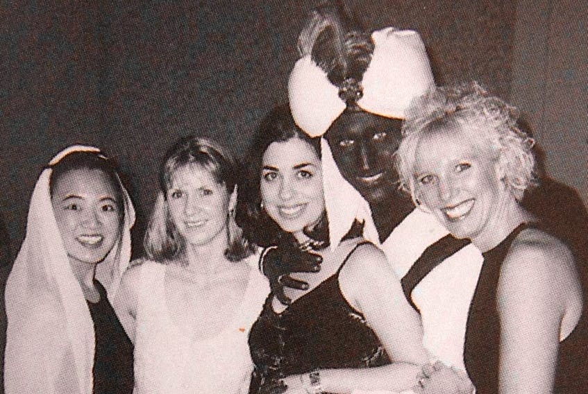 """Justin Trudeau in brownface as part of a costume for an """"Arabian Nights""""-themed party at Vancouver's West Point Grey Academy, hosted in 2001."""