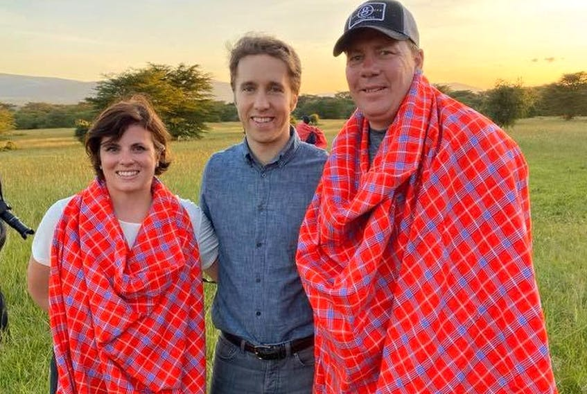 Premier Scott Moe, right, and his wife Krista, left, pose with WE Charity co-founder Craig Kielburger during a trip the couple took to Kenya from December 2019 to January 2020. Facebook.