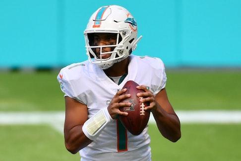Miami Dolphins quarterback Tua Tagovailoa drops back to pass last season.
