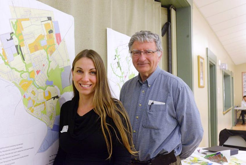 Laurel Palmer Thompson, planning and development officer with the City of Charlottetown was on hand when John Andrew dropped by an open house to discuss the master plan for the community of East Royalty.