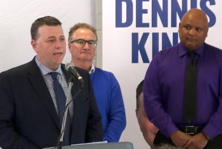 PC Leader Dennis King speaks at a party announcement on Thursday, March 28, 2019. The PCs have pledged to replace the Hillsborough Hospital, improve cancer treatment in Kings and Prince counties and create a new Wellness and Activity tax credit. With him are candidates Tim Keizer, right, and Ron Carragher.