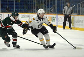 Mark Rumsey of the Cape Breton Eagles, right, protects the puck as he's pressured by Jake Furlong of the Halifax Mooseheads during Quebec Major Junior Hockey League action at Centre 200 on Friday. Halifax won the game 3-2.
