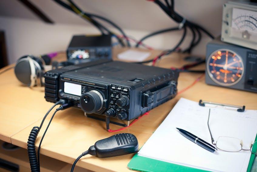 An amateur radio station transceiver.