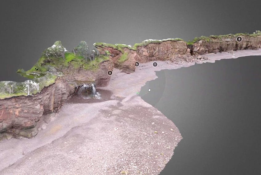 A screenshot of a 3D model of Margaretsville Beach that Dalhousie University senior instructor Mike Young made for his online science courses for the upcoming fall semester. Since June, Young has taken over 50,000 photos with a drone and a handheld camera with which he has produced the 3D models.