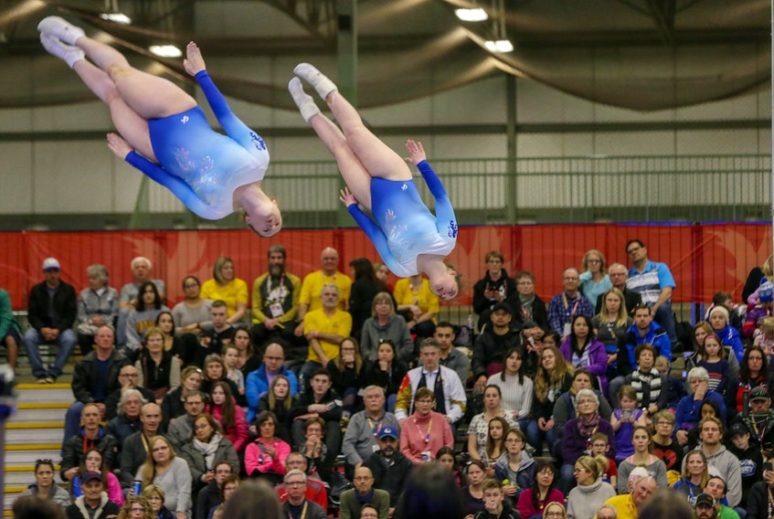 Team Nova Scotia trampoline duo Jordyn Henderson (Truro) and Tia Wamboldt (Bridgewater) compete on Feb. 28, 2019 at the Collicutt Centre in Red Deer, Alta. - Len Wagg / Communications Nova Scotia