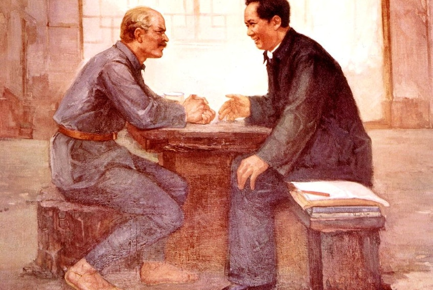 Mao Zedong with Canadian doctor Norman Bethune, in Yennan (during the Long March), China, 20th century.