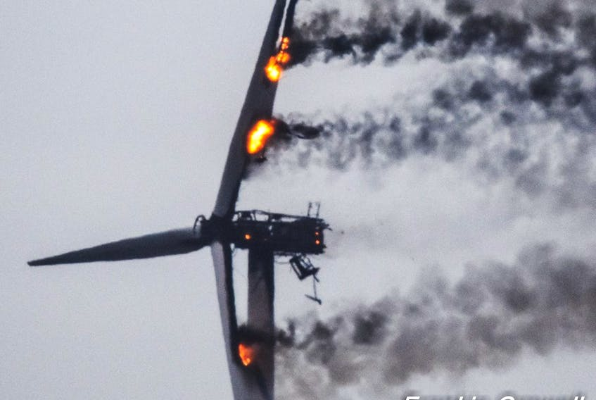 The spectacle of a burning wind turbine in West Pubnico could be seen for miles around the afternoon of March 15. Frankie Crowell Photo