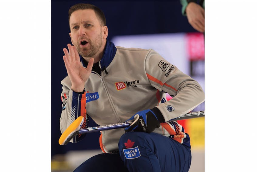 Brad Gushue calls to his sweepers during a game at the Home Hardware Canada Cup in Leduc, Alta. — Michael Burns/Curling Canada